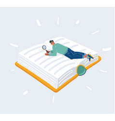 man lay on big giant book vector image