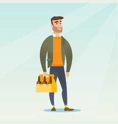 man with pack of beer vector image