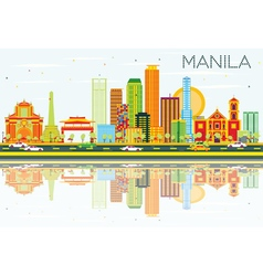 Manila Skyline with Color Buildings Blue Sky vector