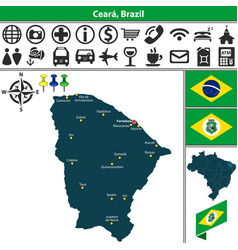 Map of ceara brazil vector