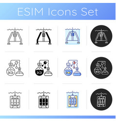 marine exploration icons set vector image