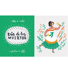 mexican woman dancing vector image