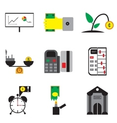 Modern collection flat icons economy on white vector