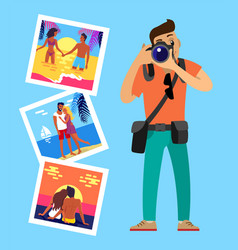 photographer and his works pictures of merry vector image