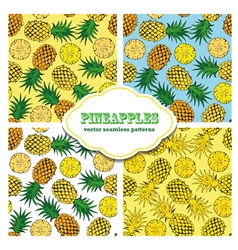 Pineapple colored doodle seamless pattern vector image