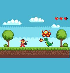 Pixel art game design in 8 bit style character vector