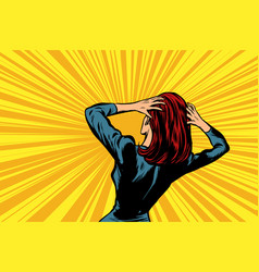 pop art woman in panic vector image