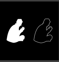 praying muslim icon set white color flat style vector image