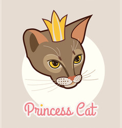 Princess cat head isolated with golden crown vector