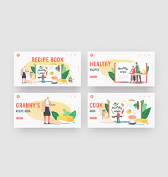 recipe book landing page template set characters vector image