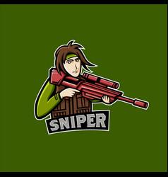 red sniper mascot logo team sniper man mascot logo vector image