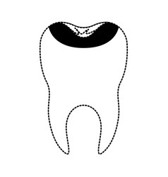 Restored tooth with root i in black dotted vector