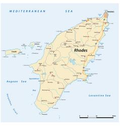 Road map greek mediterranean island rhodes vector