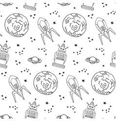 Seamless pattern with cute retro robots vector
