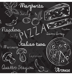 Seamless Pizza Blackboard Pattern vector
