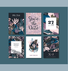 Set of abstract creative cards vector