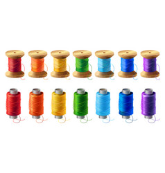 set of colored thread spools for sewing vector image