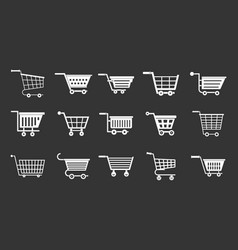 shop cart icon set grey vector image