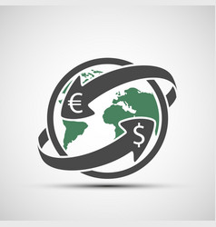 Simple icon earth planet with arrows money vector