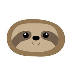 Sloth oval face head icon cute cartoon kawaii vector
