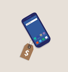 smart phone price tag dollar symbol of money label vector image vector image