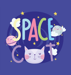 space cat face planets stars clouds cartoon cute vector image