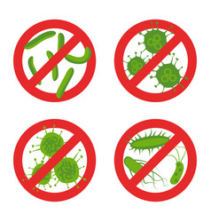 Stop bacteria sign set vector