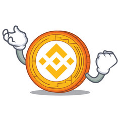 Successful binance coin character catoon vector