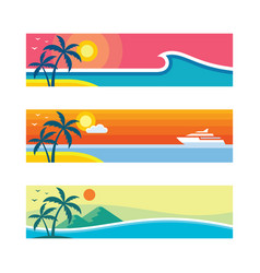 summer travel - set horizontal concept banner vector image