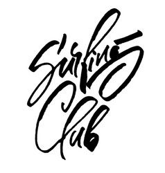 Surfing club modern calligraphy hand lettering vector