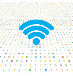 Symbol of network wifi on a digital background vector