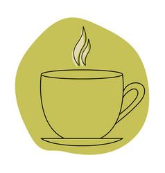 Tea cup with color spots black vector
