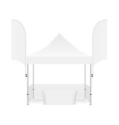 tent for events with two promo flags and table vector image