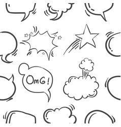 Text balloon hand draw pattern style vector