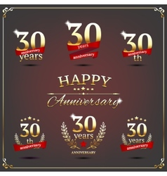 Thirty years anniversary signs collection vector