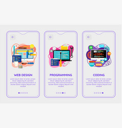 trendy design and development mobile app splash vector image