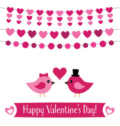 valentines day greeting card with birds vector image