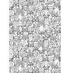 Vertical pattern with funny cartoon different owls vector