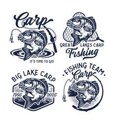 Vintage carp fishing logo vector