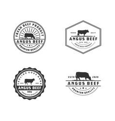 Vintage cattle angus beef meat label logo design vector