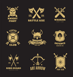 vintage golden warrior sword and shield labels vector image