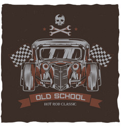 Vintage hot rod t-shirt label design vector