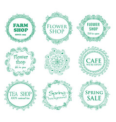 Vintage shop signages vector