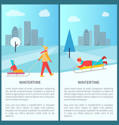 Wintertime cityscape poster vector