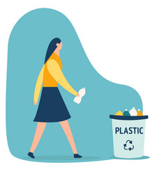woman with trash keep clean vector image