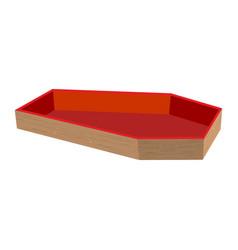 wooden coffin open casket empty religious object vector image