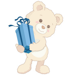 cute little teddy bear holding a blue present vector image vector image