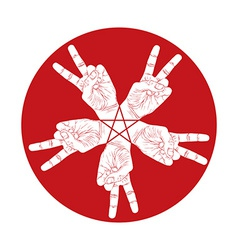 Five victory hands abstract symbol with pentagonal vector image