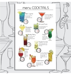 Hand Drawn Cocktails Menu for Cafe Bar Template vector image vector image