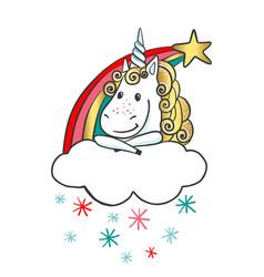 hand drawn cute magic unicorn with rainbow vector image